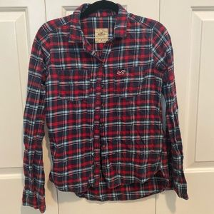 Blue and Red Hollister Plaid Flannel